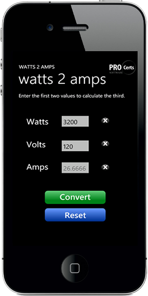 Watts 2 Amps Calculator for iPhone & iPad