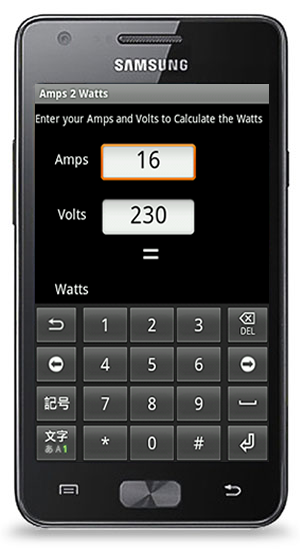 Amps 2 Watts Calculator for Android