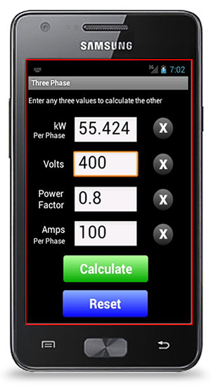 Watts Amps Volts Calculator for Android | Electrical Apps