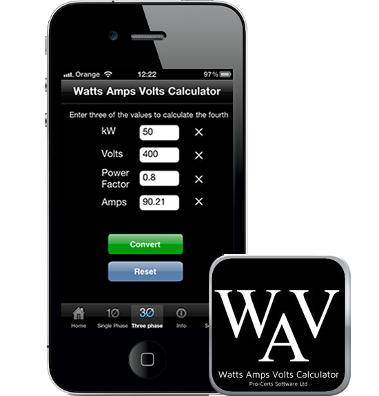 Watts Amps Volts Calculator iPhone iPad